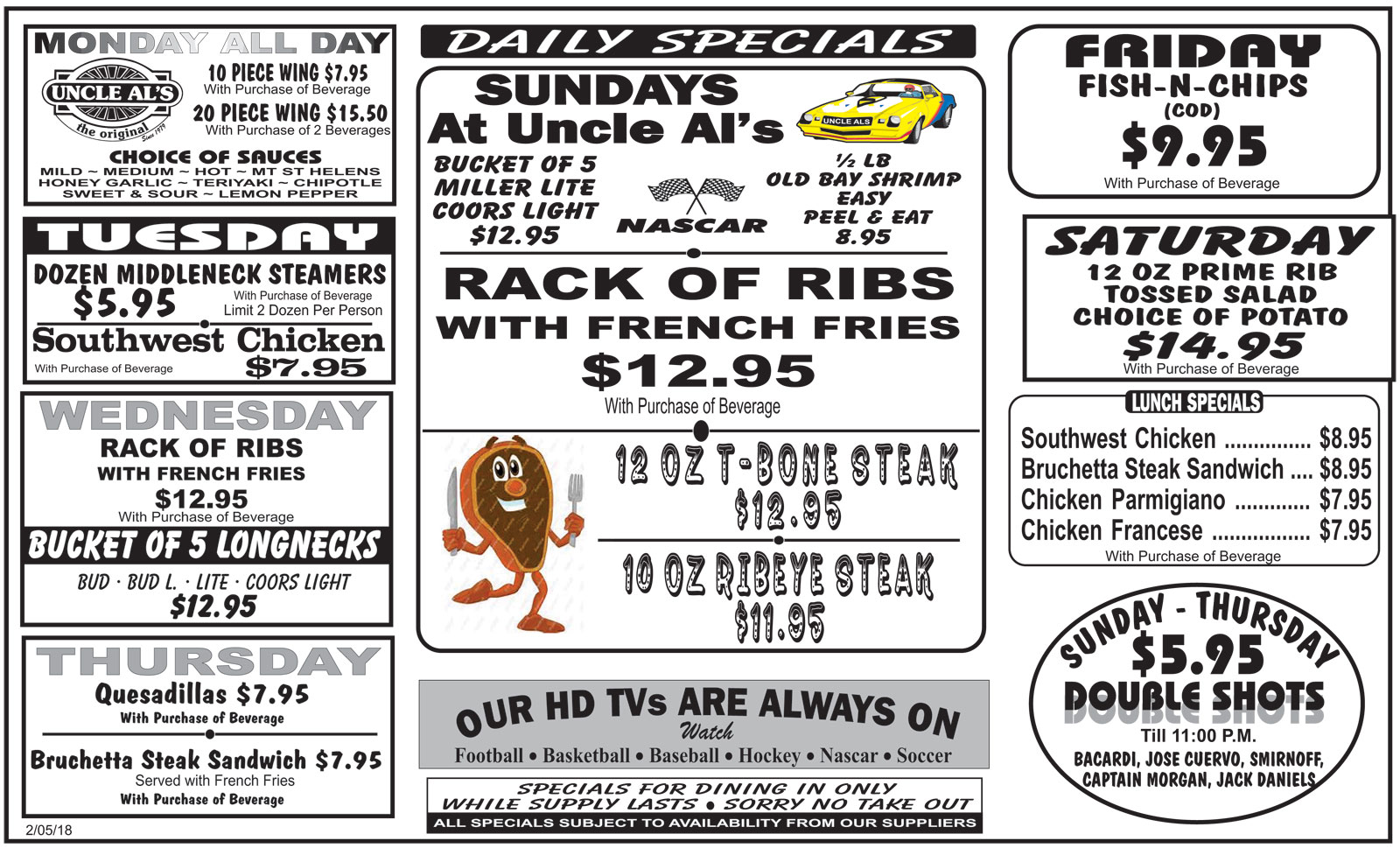 Daily Specials - Uncle Al's Davie - Restaurant and Bar