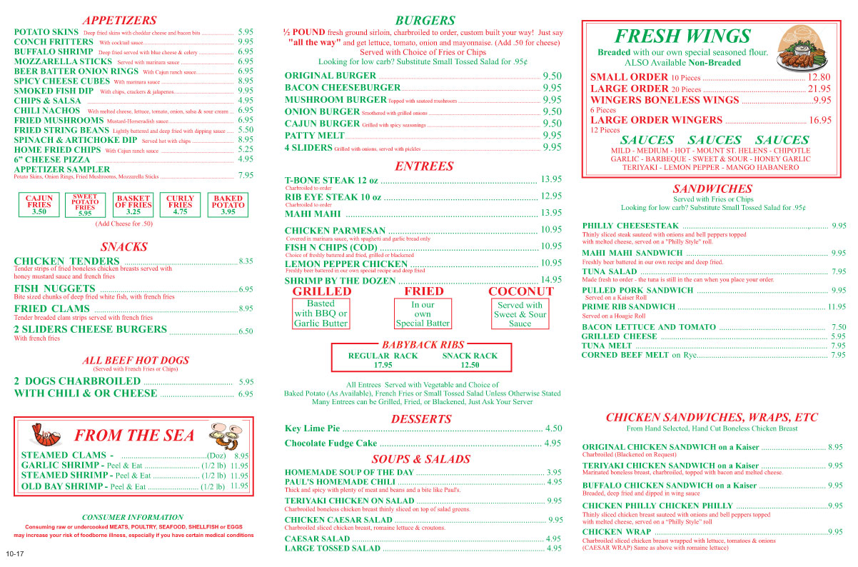 Uncle Al's Menu